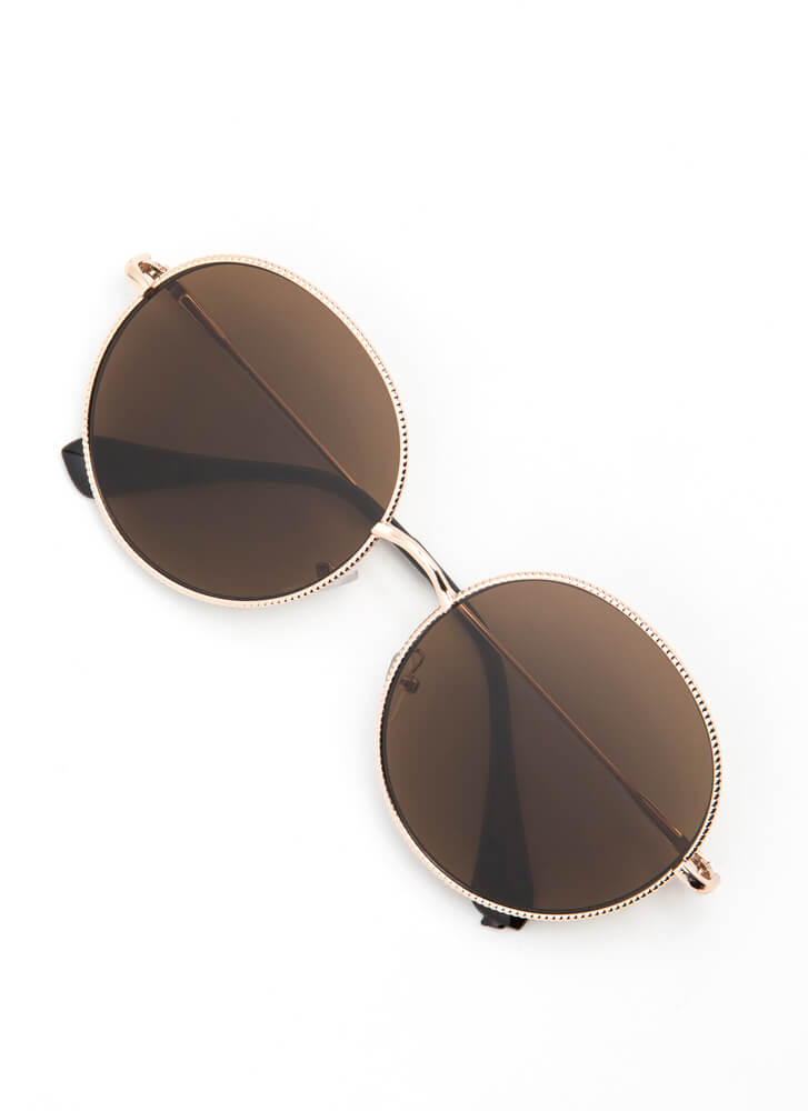 Make The Rounds Trimmed Sunglasses BROWN