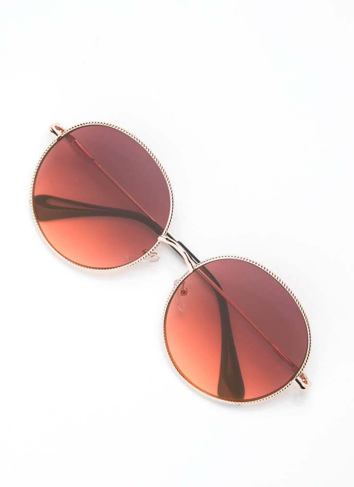 Make The Rounds Trimmed Sunglasses RED