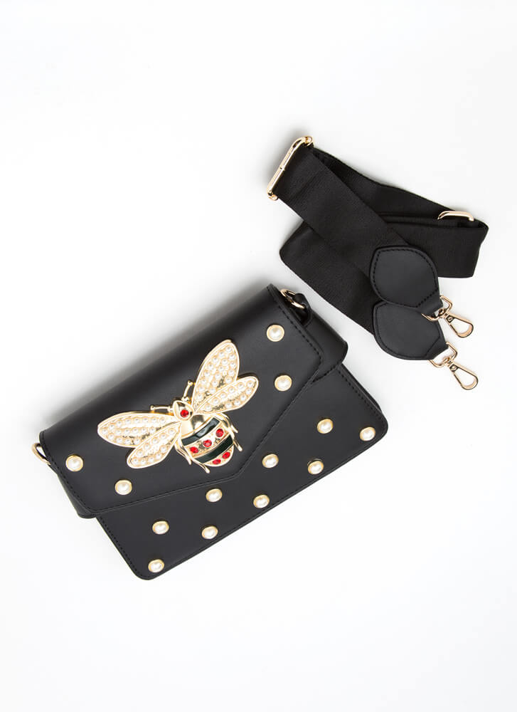 Bee The Change Faux Pearl Purse BLACK