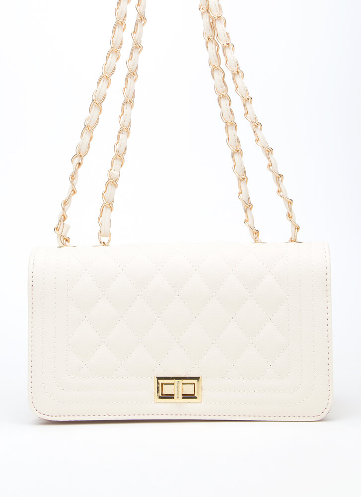 New Bag Quilted Chain Strap Purse BEIGE