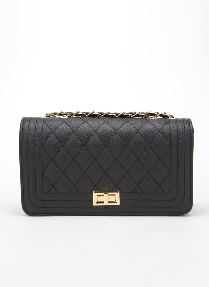 New Bag Quilted Chain Strap Purse BLACK