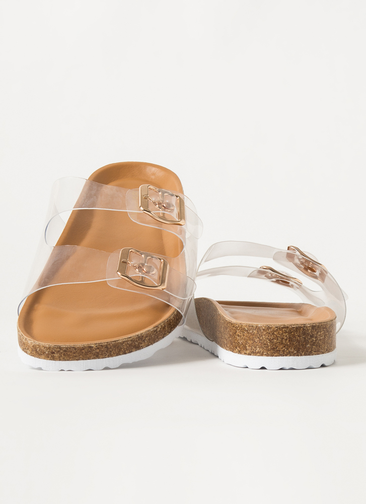 Grown-Up Buckled Jelly Slide Sandals CLEAR