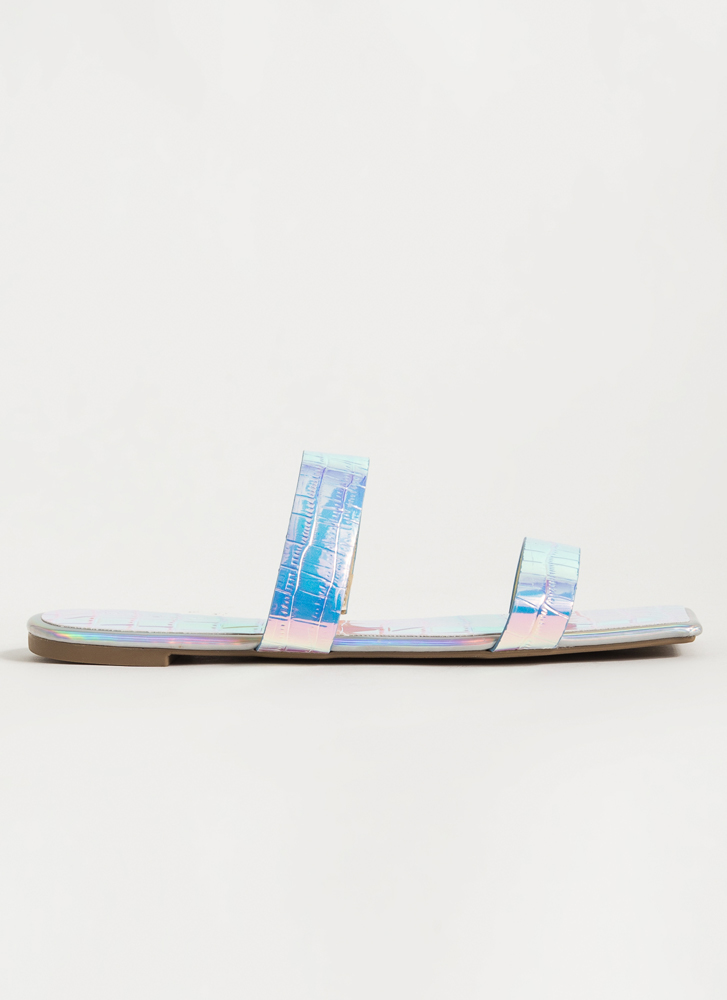 Pop And Croc Reptile Scale Slide Sandals IRIDESCENT