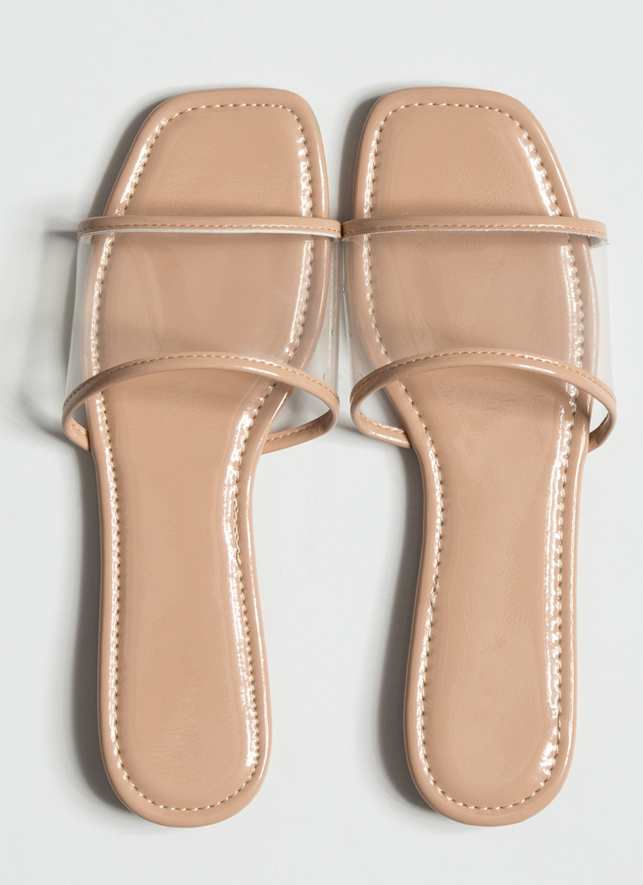 Make It Clear Faux Patent Slide Sandals NUDE