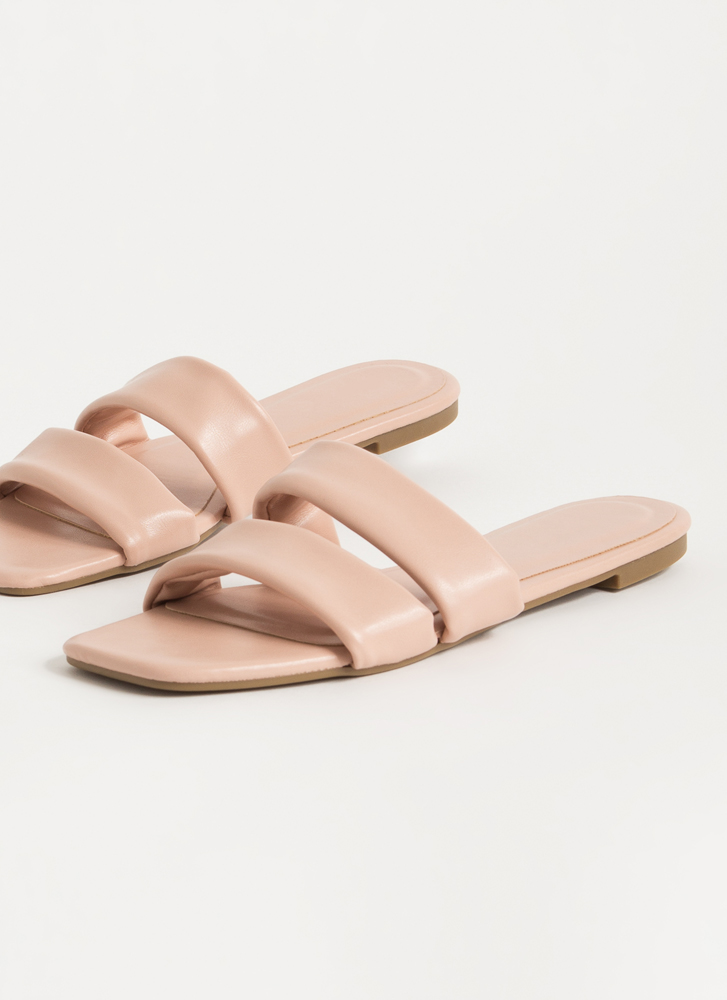 Relax Strappy Faux Leather Slide Sandals BLUSH