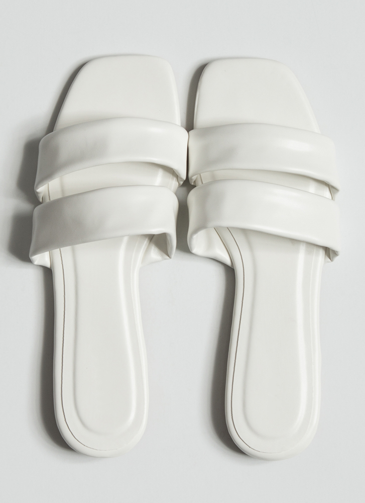 Relax Faux Leather Strappy Slide Sandals WHITE