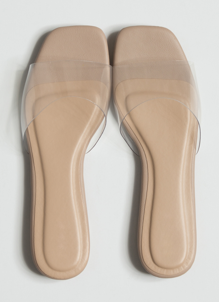 Foot Fetish Clear Illusion Slide Sandals CLEAR