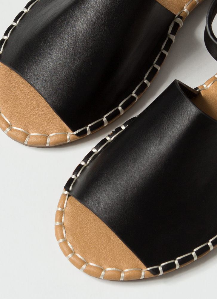 In Stitches Ankle Strap Peep-Toe Sandals BLACK