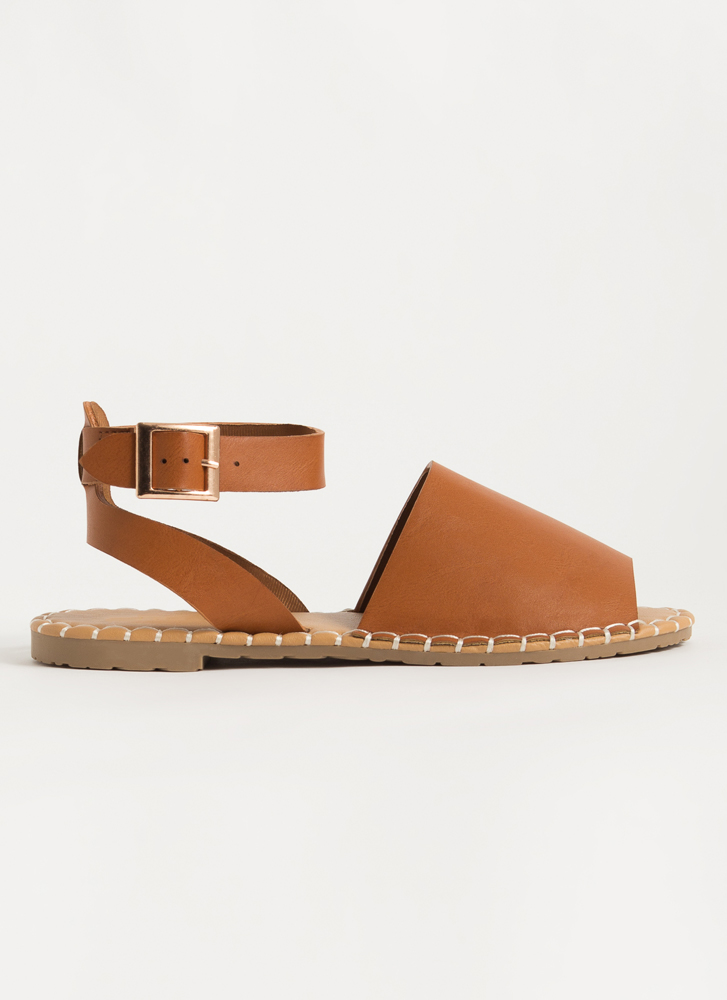In Stitches Ankle Strap Peep-Toe Sandals TAN