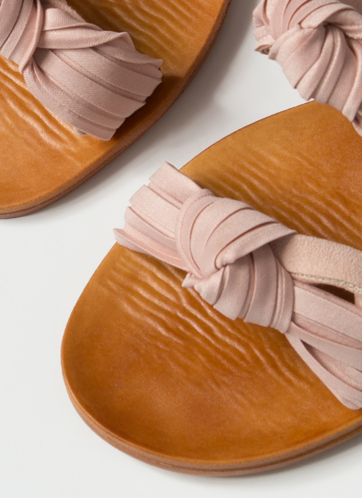 Do As You Pleats Knotted Slide Sandals BLUSH