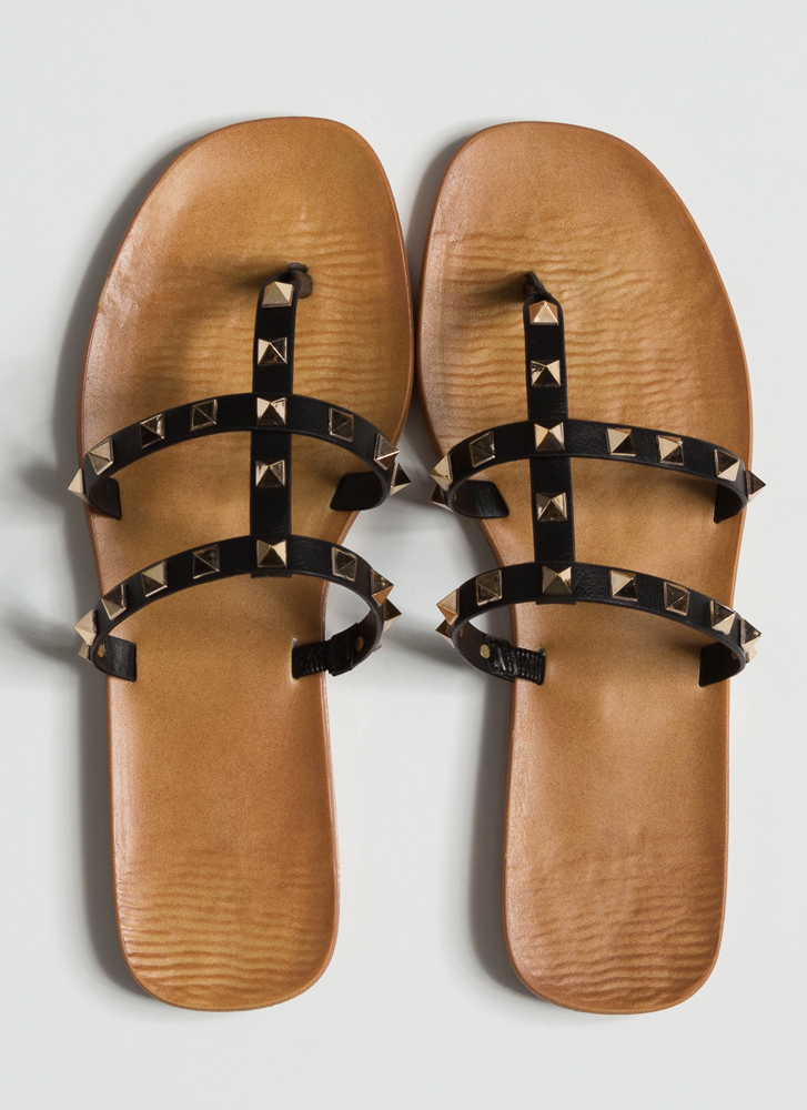 Hey Studs Strappy Caged Thong Sandals BLACK