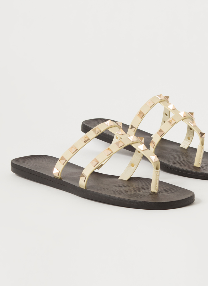 Hey Studs Strappy Caged Thong Sandals IVORY