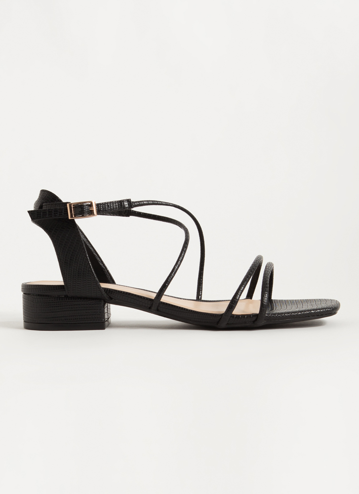 Block Party Strappy Scaled Sandals BLACK