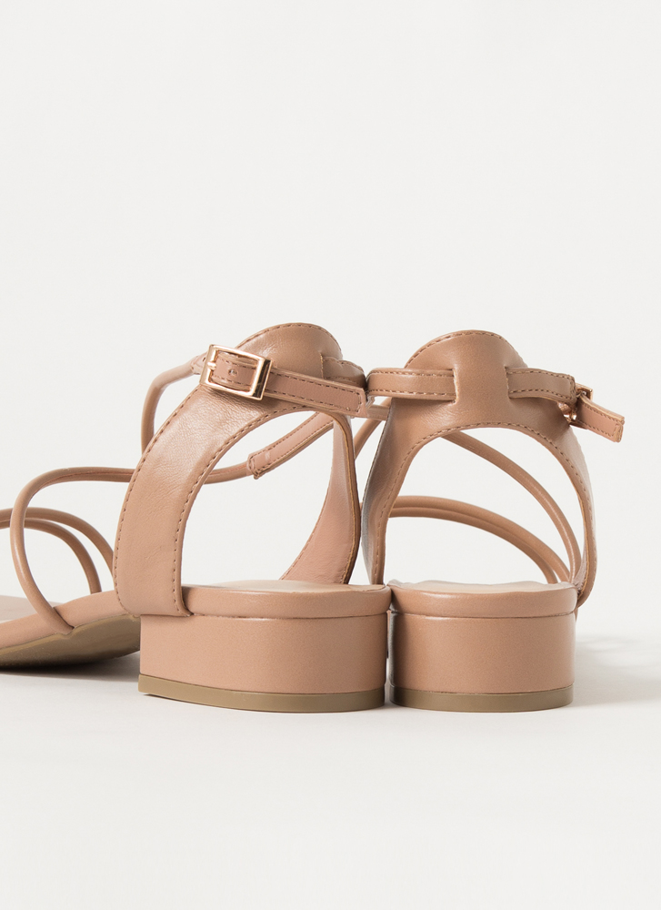 Block Party Strappy Faux Leather Sandals CAMEL