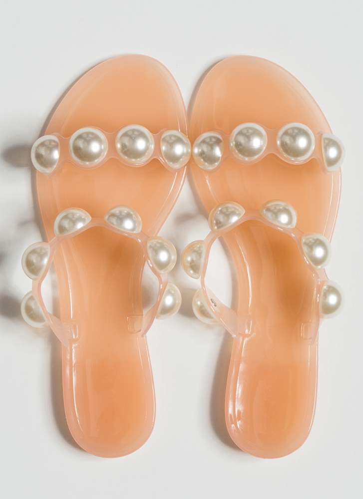 Precious Pearls Jelly Slide Sandals NUDE