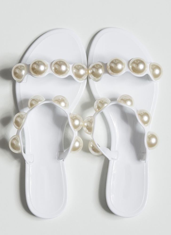 Precious Pearls Jelly Slide Sandals WHITE