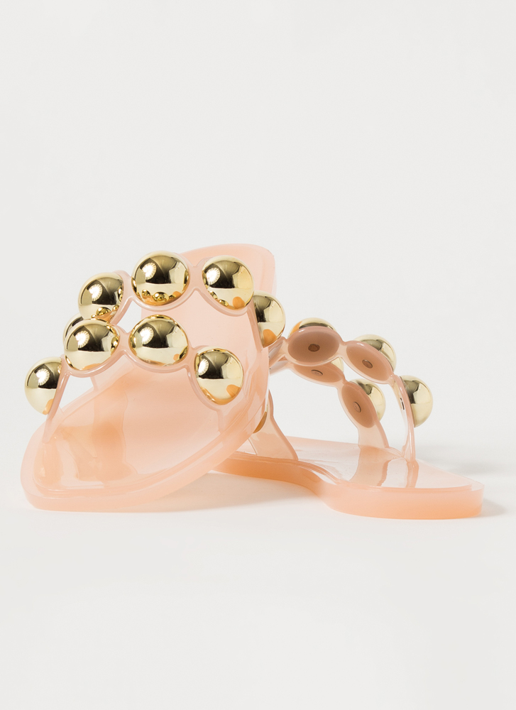 Shiny Ornaments Jelly Slide Sandals NUDE