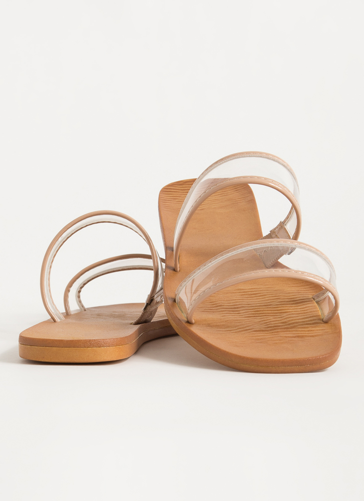 On Vacation Clear Strap Slide Sandals CLEAR