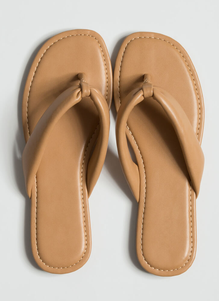 Flip For It Faux Leather Thong Sandals NATURAL