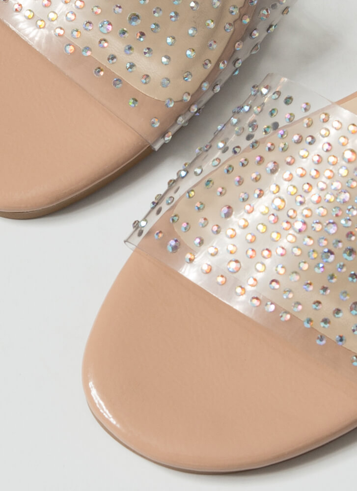 Sparkle Clear Jeweled Slide Sandals NUDE