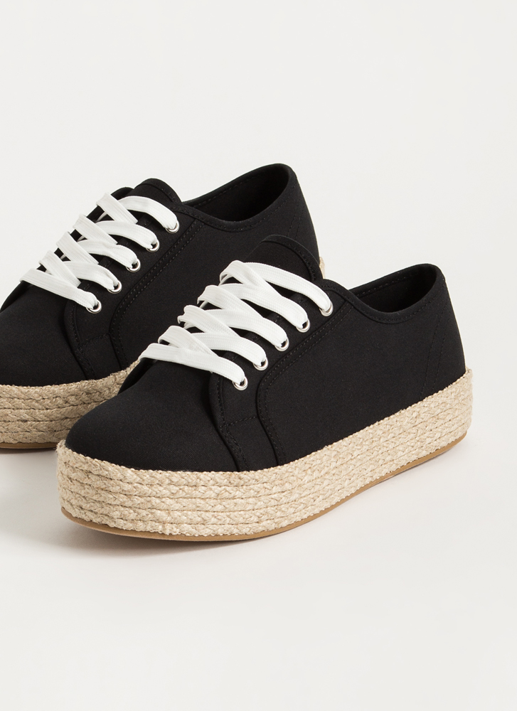 Vacay Braided Canvas Platform Sneakers BLACK
