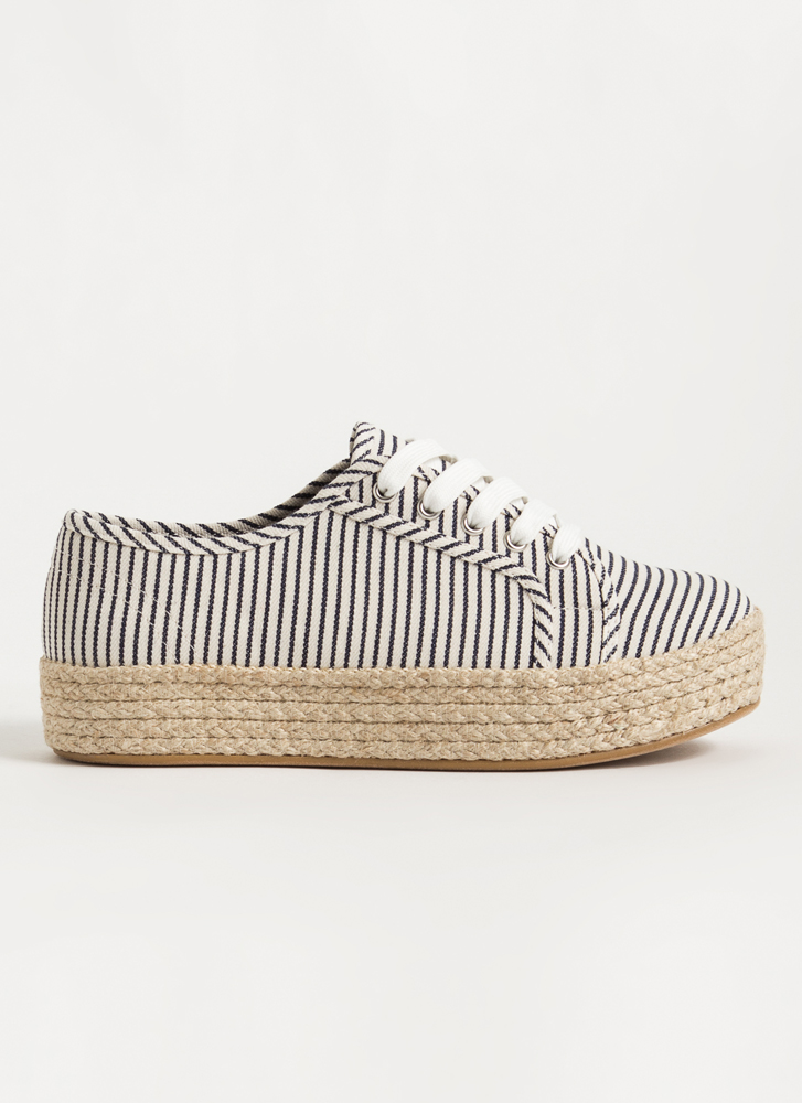 Vacay Braided Striped Platform Sneakers NAVY