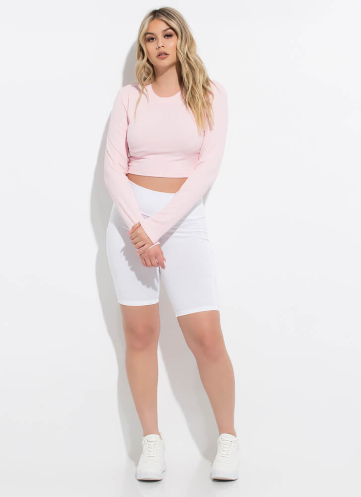 Everyday Rib Knit Long-Sleeved Crop Top LTPINK