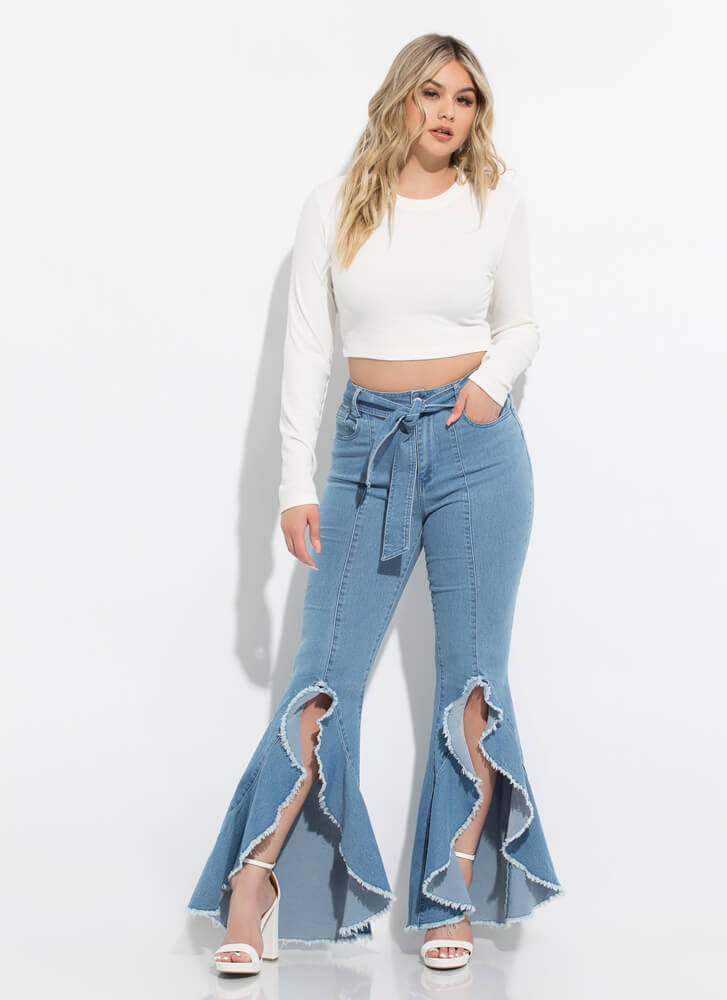 Everyday Rib Knit Long-Sleeved Crop Top WHITE