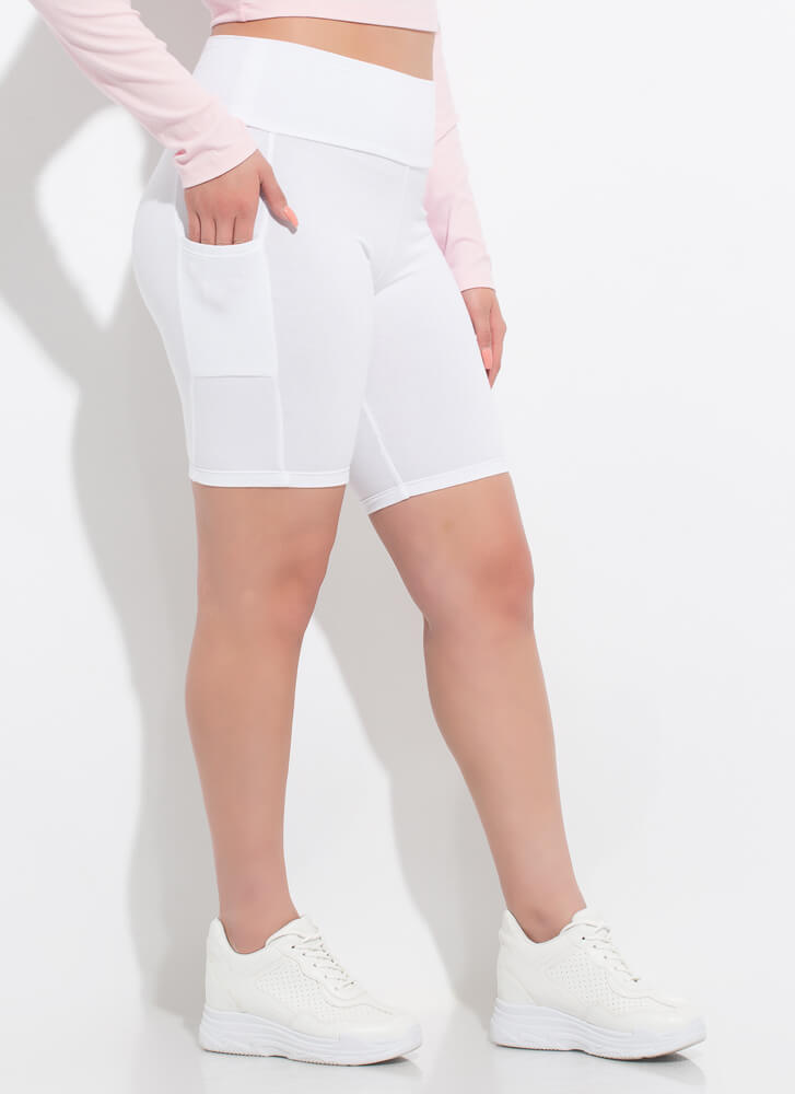 It's Coming Along Pocketed Biker Shorts WHITE