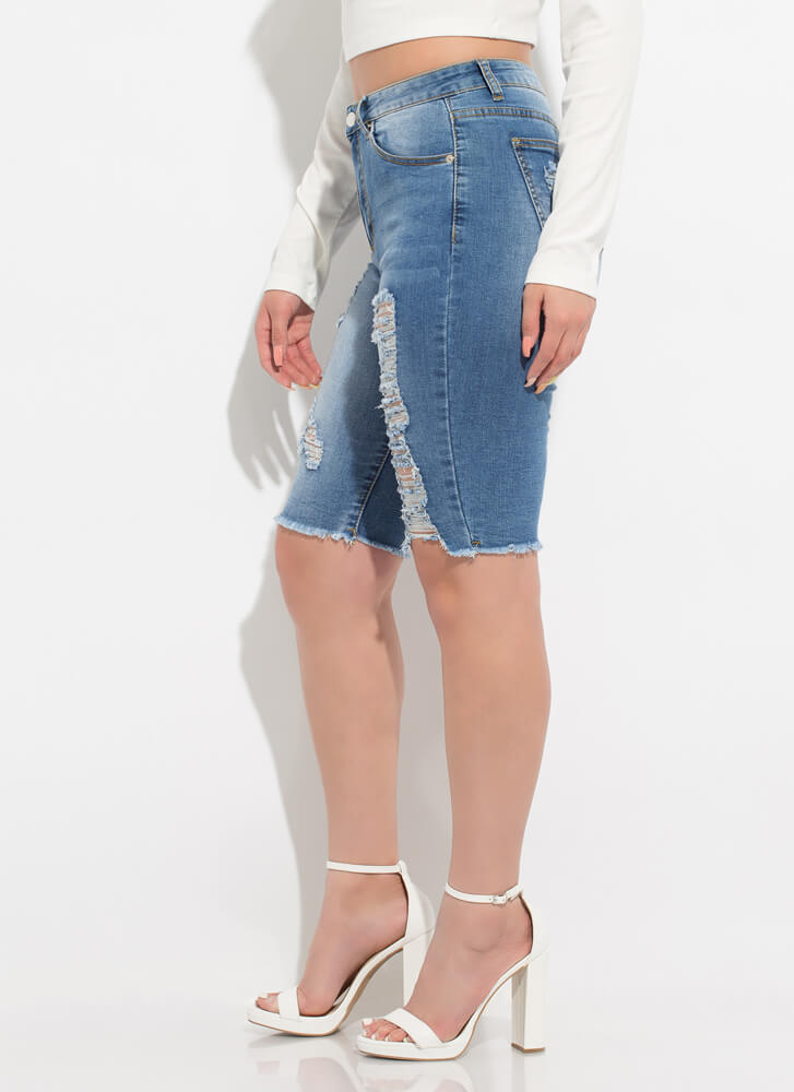 Just Perf Destroyed Denim Bermuda Shorts MEDBLUE
