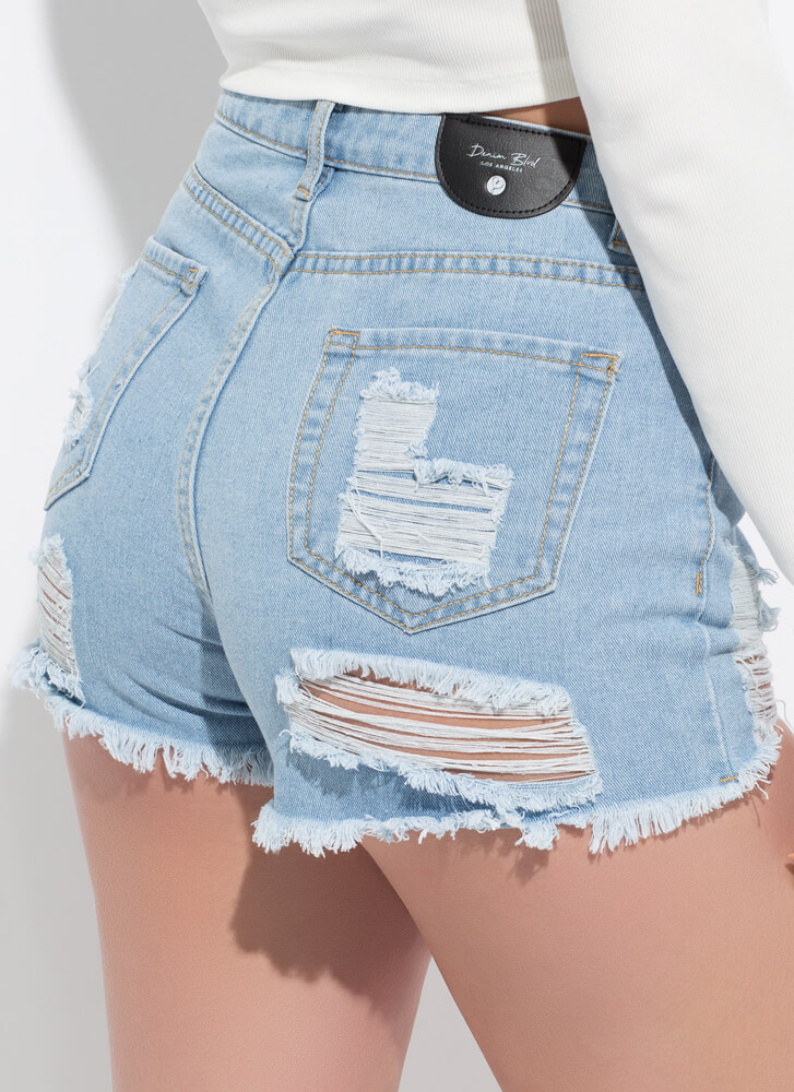 Destroy The Game Cut-Off Denim Shorts LTBLUE