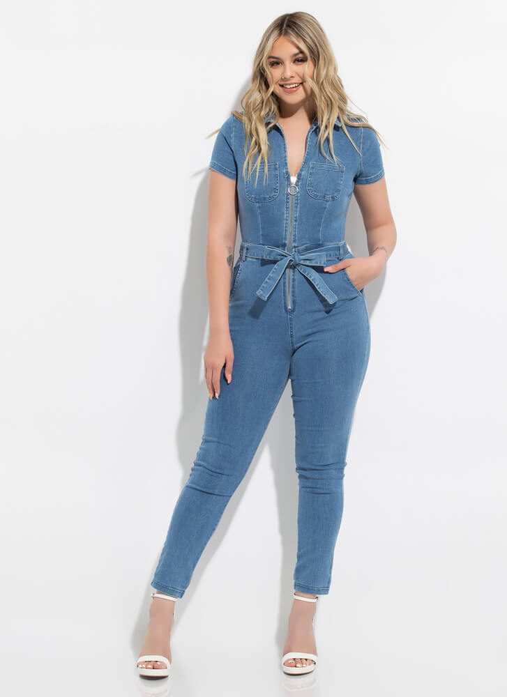 Zipped-Tied Collared Denim Jumpsuit MEDBLUE