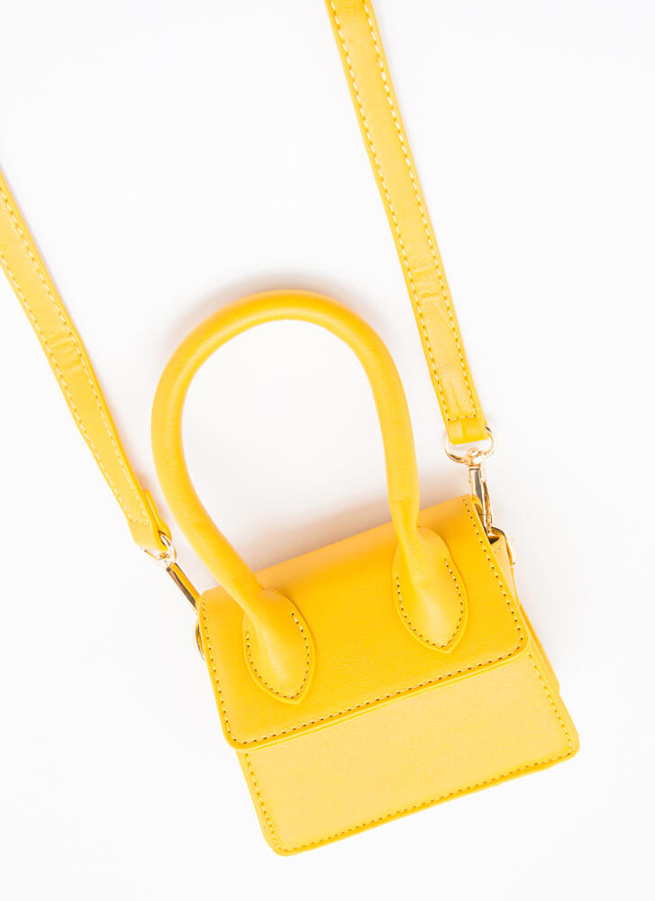 It's Handled Faux Leather Micro Purse MUSTARD