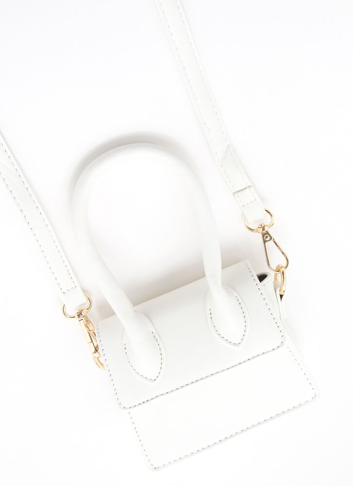 It's Handled Faux Leather Micro Purse WHITE