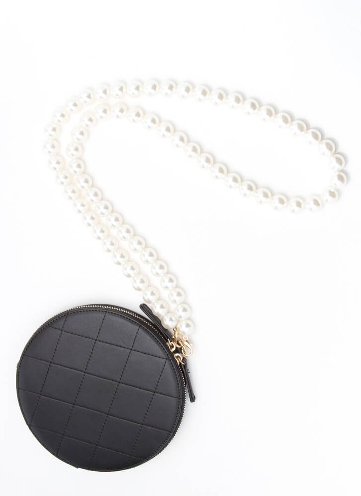 Girl With A Pearl Strap Disc Purse BLACK