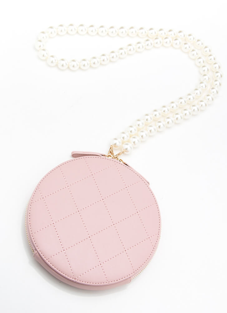 Girl With A Pearl Strap Disc Purse PINK