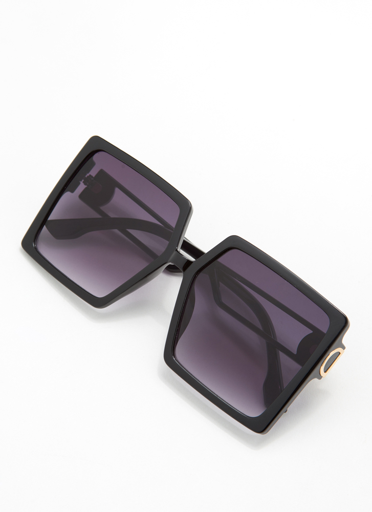 I'm Too Good For You Square Sunglasses BLACK