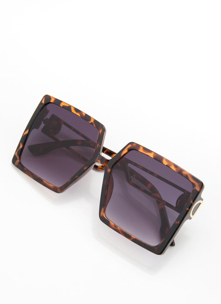 I'm Too Good For You Square Sunglasses BROWN