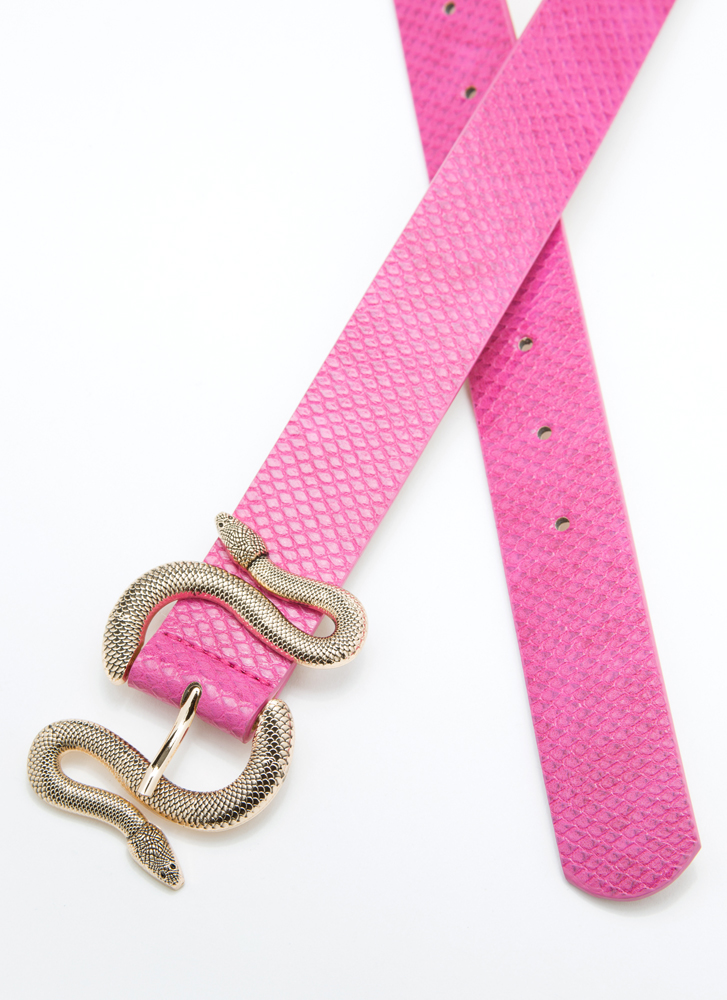 Hiss And Hers Scaled Snake Buckle Belt FUCHSIA