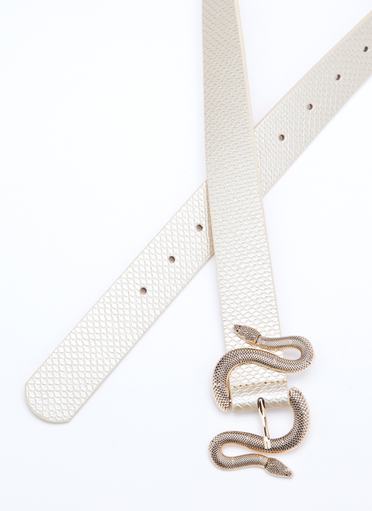 Hiss And Hers Scaled Snake Buckle Belt GOLD