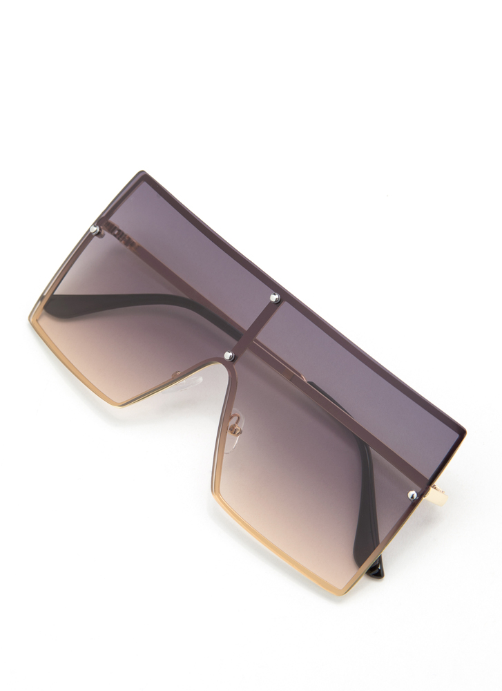 Squared Away Ombre Sunglasses BROWN