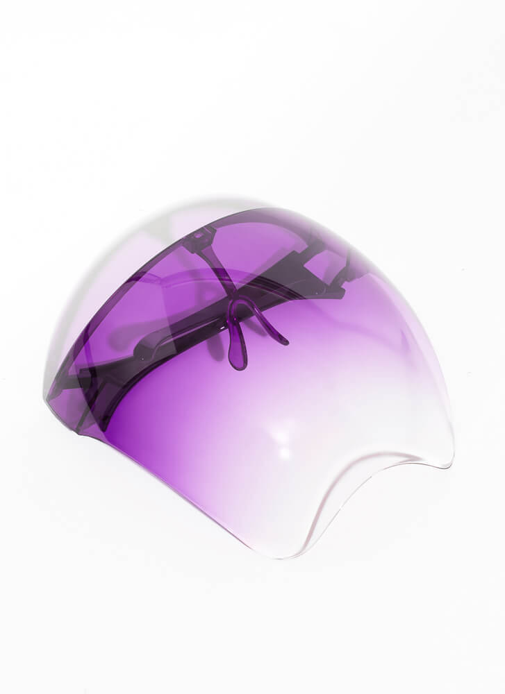 Cover Me Ombre Face Shield Sunglasses PURPLE