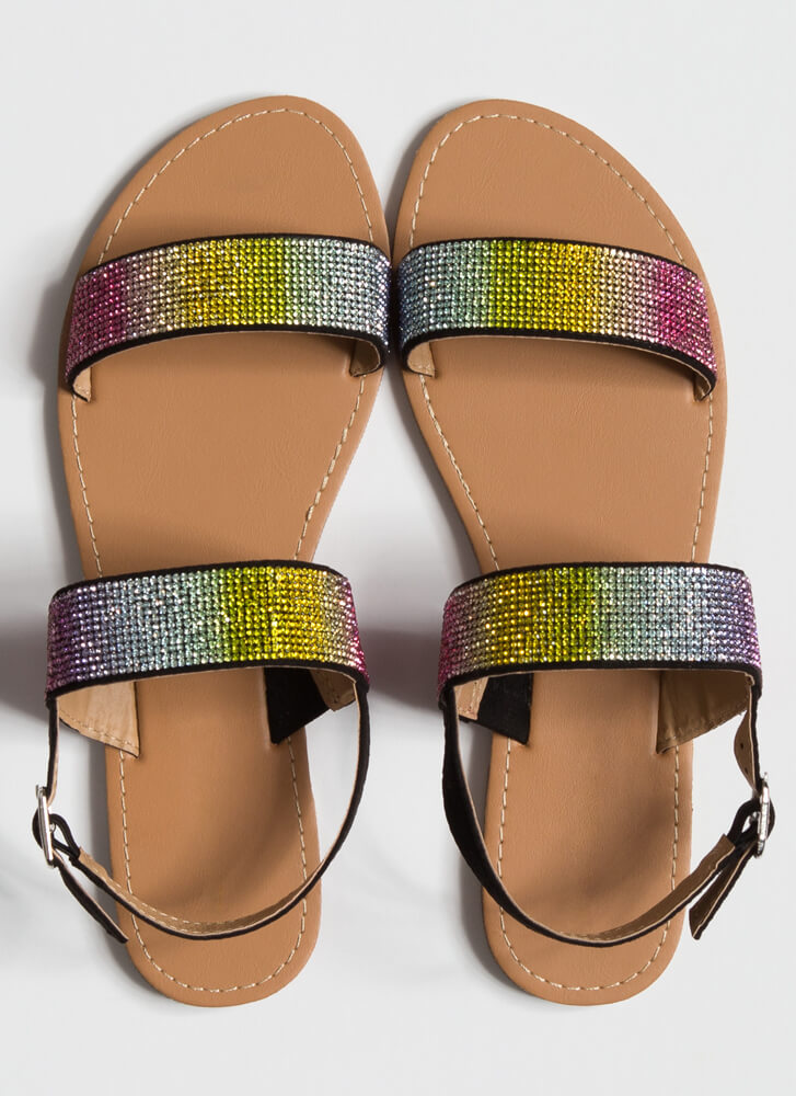 Full Of Sparkle Jeweled Strap Sandals RAINBOW