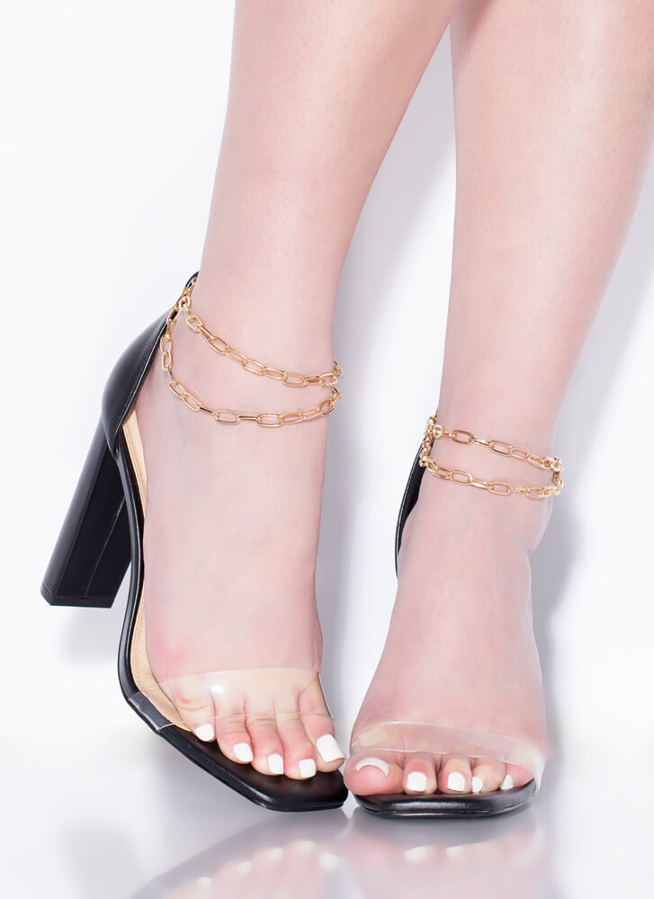 Chained Melody Clear Strap Chunky Heels BLACK