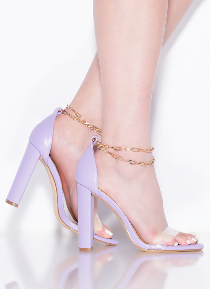 Chained Melody Clear Strap Chunky Heels LILAC