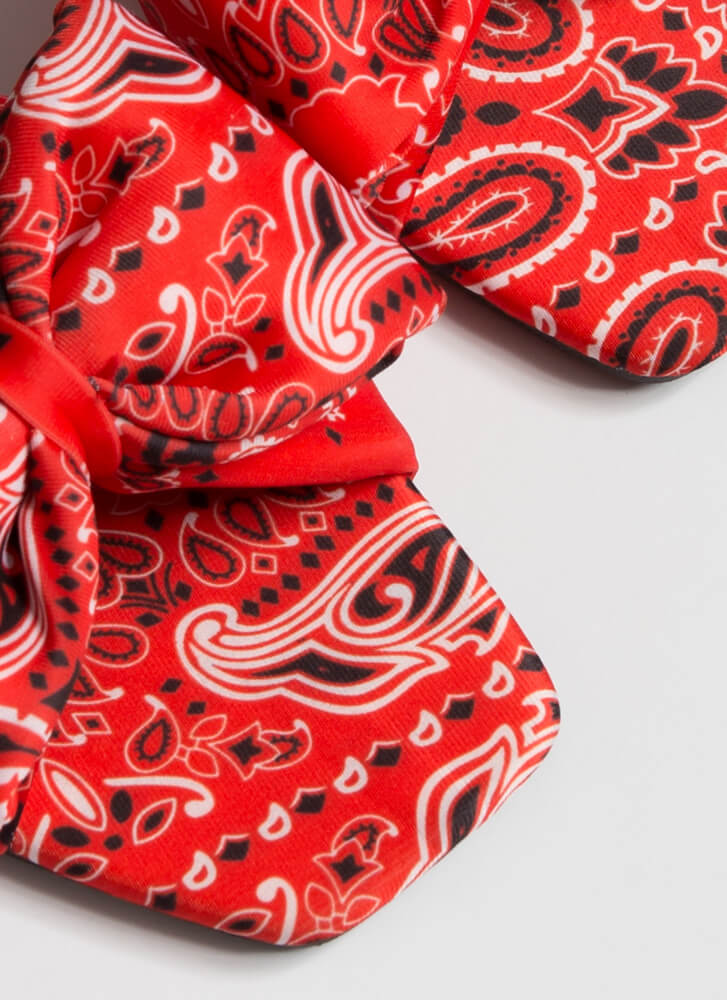 Bows And Bandanas Paisley Slide Sandals RED