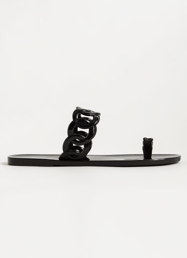 Linking Rings Chain Strap Jelly Sandals BLACK