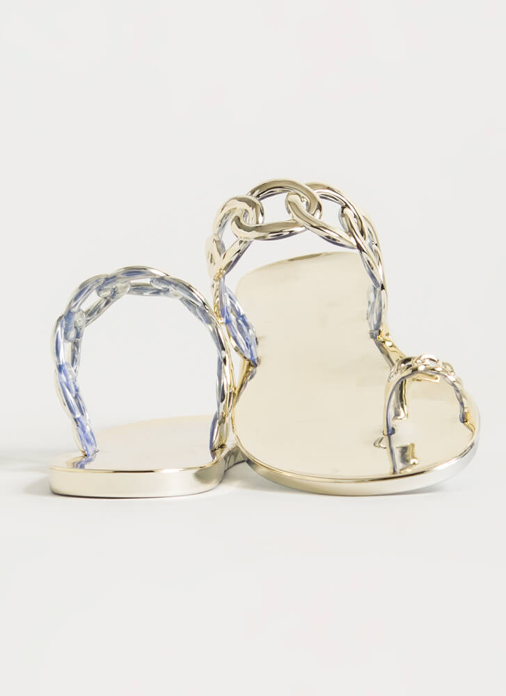 Linking Rings Chain Strap Jelly Sandals GOLD