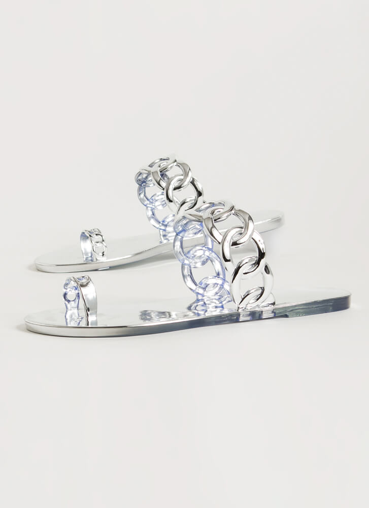 Linking Rings Chain Strap Jelly Sandals SILVER