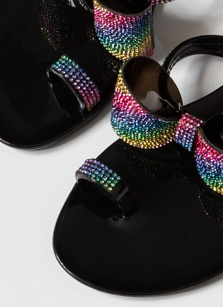 Bows And Rainbows Jeweled Jelly Sandals BLACK